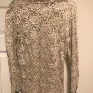 Off white/Tan lace long sleeve top
